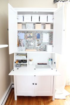 DIY Secretary Desk for a Small Space: This is great for an apartment! So much storage room!