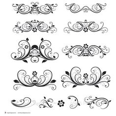 Digital Clipart Flourish Clip Art Swirls Vintage Flower DIY Wedding Invitation Decorative Scrapbooking Embellishment Design Elements 10128