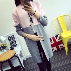 두껍게 새로운 2016 가을 겨울 패션 여성 한국어 여성 재킷 스웨터 코트 여성 긴 스웨터 카디건