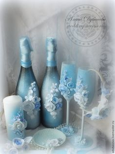 """Купить Набор аксессуаров """"Бело-голубой"""" - голубой, свадьба, комплект аксессуаров, свадебные аксессуары"""