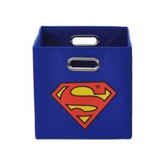 DC Comics Superman Logo Collapsible Storage Bin, Blue