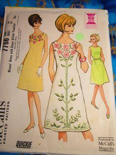 1965 Vintage McCalls A Line Dress with Cross Stitch by DonkeyFarm