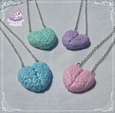 Cute polymer clay hearts, but they look like molded from brain tissue. Cool for pastel goth and creepy cute outfits. * pendants are about