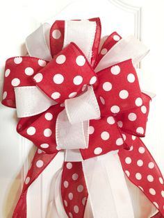 Red and White Polka Dot Bow Valentine Rustic Bow by RosaKayToday