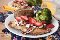 Red Rooster aka Strawberry Glazed Grilled Chicken with Feta & Pecans | Crumbs and Chaos An easy and delicious way to dress up grilled chicken, this dish was inspired by an entree from a local restaurant. #chicken #strawberries #maindish #grilling www.crumbsandchaos.net