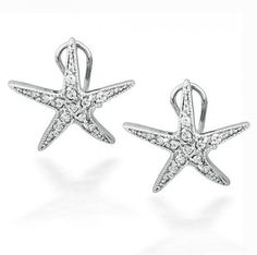 Bling Jewelry CZ Pave Starfish Omega Clip Earrings 925 Sterling Silver