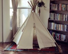 Canvas Teepee with Window and Bamboo Poles by PlayHaven on Etsy