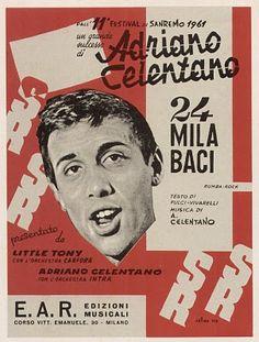 (1961) spartito - 24MILA BACI Adriano Celentano venue poster
