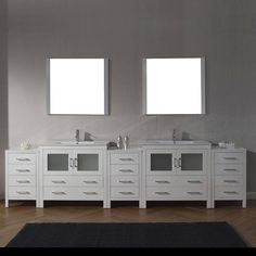 Virtu USA Dior 118-inch White Stone Double Bathroom Vanity Set with Faucet Options (zebra grey/Charcoal Grey - brushed nickel finish), Size Double Vanities