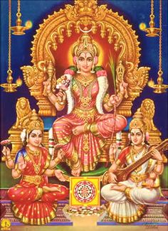 Goddess Lalita with Goddess Lakshmi and Sarasvati