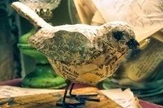 Decoupaged bird