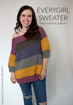 This comfy, easy to make Everygirl Crochet Sweater is the perfection addition to your fall wardrobe. I used 2 Caron Cakes to make this sweater. Easy Crochet, Crochet Baby, Knit Crochet, Crochet Sweaters, Crochet Shrugs, Modern Crochet, Crochet Tops, Ideias Diy, Crochet Woman