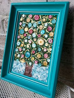 Tree Of Life Button Bead Mixed Media Wall Art by StarStruckMosaics, $50.00