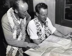 Charles Kingsford Smith and Captain PG Taylor flew from Fiji to Honolulu in October 1934 in the Lady Southern Cross. Here they go over the flight chart.