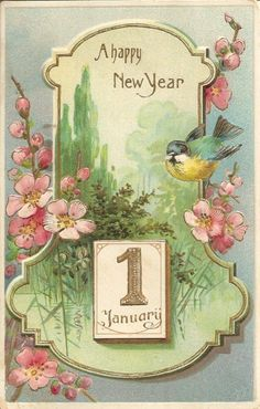 25 New Happy New Year Greeting Cards Collection Vintage Happy New Year, Happy New Year Images, Happy New Year Cards, Happy New Year Greetings, New Year Greeting Cards, Vintage Greeting Cards, Vintage Christmas Cards, Vintage Holiday, Christmas Art