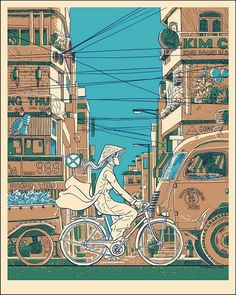 Bicycle riding girl in crowded asian traffic.