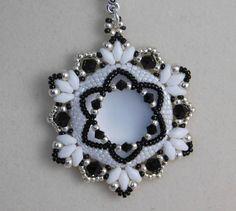 Beading Tutorial, Jewelry Pendant, Pattern, Instructions, Beadweaving, Necklace, Beaded, Lunasoft Cabochon, Swarovski, PDF, Super Duo