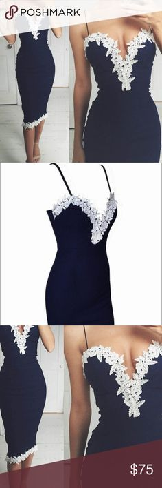Sexy navy and white dress Lacey accents on this navy blue slim dress Dresses Prom