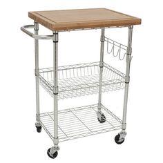 Found it at Wayfair - EcoStorage Wood Top Kitchen Cart in Chrome