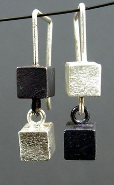 Two Box Earring by Hilary Hachey: Silver Earrings available at www.artfulhome.com