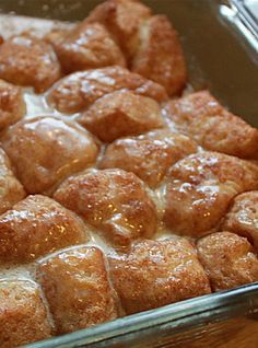 Cinnamon Roll Bites. 1 roll refrigerator biscuits 3T butter, melted 1t cinnamon 1/4C brown sugar Mix brown sugar and cinnamon in bowl. Cut each biscuit into 4 peices drop into bowl, toss to coat well. Spread evenly into greased 8x8 baking dish. Pour melted butter evenly over biscuits. Bake @350 20-25 minutes or until baked through. GLAZE: 1C powdered sugar 2T butter, melted and cooled 1T vanilla 1-2T milk, Mix until smooth. Drizzle over slightly cooled biscuits.