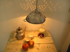 upcycled battered and weathered colander lamp. $89.00, via Etsy.