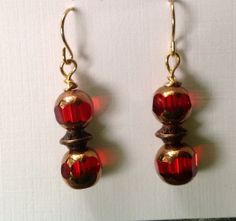 Red Antique Style Dangle Earrings