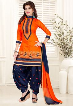 Poly Cotton Punjabi Suit in Orange This Semi-stitched attire is Enhanced with Resham, Zari and Patch Border Work Available with a Poly Cotton Patiala Salwar in Navy Blue and a Faux Chiffon Dupatta in Shaded Orange and Navy Blue The Lengths of the Kameez and Bottom are 38 and 42 inches respectively Do note: Accessories shown in the image are for presentation purposes only and length may vary upto 2 inches.(Slight variation in actual color vs. image is possible)