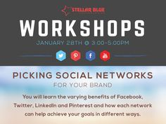 "Need help deciding which social networks are right for you? Join us January 28th for our ""Picking Social Networks for Your Goals"" workshop starting at 3pm! To register follow the link http://stellarbluetechnologies.com/event/choosing-the-right-social-networks-for-your-objectives/?pk_campaign=SMG0128PI02&pk_kwd="