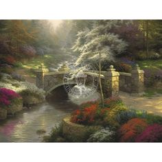 Bridge of Hope by Thomas Kinkade ~ Bridges of Inspiration I, Published May, 2003 - The BRIDGE OF HOPE is as stable as the massive granite flagstones that form its arch and will stand for as long as the quicksilver brook rolls down from the hills beneath it. A magnificent white dogwood, symbol of the purity of God's grace, shades the bridge. Its over-arching boughs remind us that, while we stand on the BRIDGE OF HOPE, we are enshrouded by the loving embrace of our creator. - Thomas…