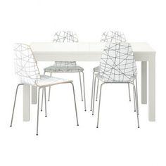 Se vende Mesa extensible con 4 sillas, blanco. Sillas blancas. En perfecto estado IKEA SEGUNDA MANO serie BJURSTA / VILMAR
