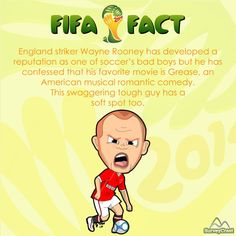 England striker Wayne Rooney is recognized as one of the bad boys of soccer but he confessed in an interview that he is hopelessly devoted to movies like Grease, Dream girls and Hairspray. Doesn't reflect his personality, does it?   #Waynerooney #FIFAfact