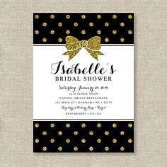 Gold Glitter Polka Dot Bow Bridal Shower Printable Invitation