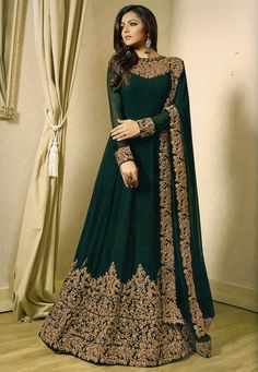 Buy Embroidered Georgette Abaya Style Suit in Dark Green online Item code Color Green Occasion Wedding Bollywood Theme Work Designer Dori Work Zari Fabric Georgette Gender Women Indian Gowns Dresses, Pakistani Dresses, Indian Outfits, Eid Dresses, Flapper Dresses, Pakistani Dress Design, Indian Wedding Outfits, Formal Dresses, Abaya Style