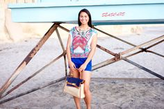 Boho print crochet top and high waist blue shorts. Shop sale and get 40% off all items until 9/16.