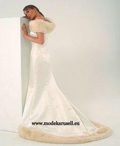 Winter Brautkleid mit Felleinsatz  www.modekarusell.eu