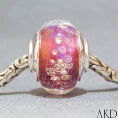 Handmade Euro Big Hole Lampwork Glass Bead With by AKDlampwork