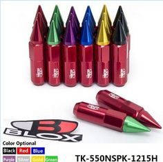 Blox 20PC M12X1.5 High Quality Aluminum 60mm Extended Tuner Wheels Rims Lug Nuts With Mix Color Spike TK-550NSPK-1215H