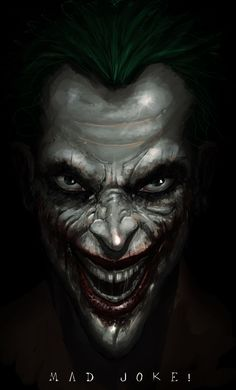 The Joker by Saad Irfan. I've seen a lot of pictures of the Joker in the last 25 years I'vebeen reading comics, and this one is the most frightening. O Joker, Joker Art, Joker And Harley Quinn, Comic Book Characters, Comic Books Art, Comic Art, Joker Kunst, 2560x1440 Wallpaper, Jokers Wild