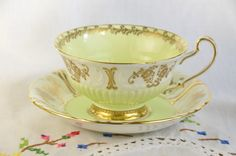 Foley tea cup and saucer/ green tea cup/ Foley bone china by VieuxCharmes on Etsy