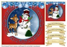 Christmas Friends on Craftsuprint - View Now! Cup Design, Quick Cards, Birthday Candles, Gift Tags, Snowman, Card Making, Friends, Holiday Decor, Christmas