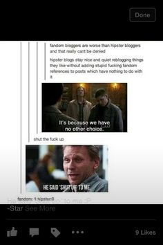 Only reason I'd ever get on tumblr is to witness supernatural jacking like every post