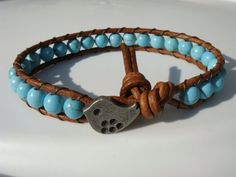 Turquoise Magnesite Beaded Leather Bracelet with by tinacdesigns, $18.00