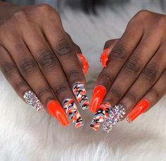 Trendy Nails Orange Grey Ideas Best Picture For nail neon fosfo For Your Taste You are lookin Camouflage Nails, Camo Nails, Aycrlic Nails, Dope Nails, Camo Nail Art, Fabulous Nails, Perfect Nails, Gorgeous Nails, Camo Nail Designs