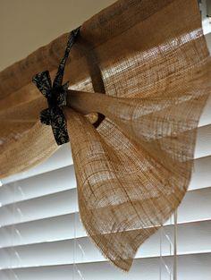 DIY Burlap Kitchen Curtains!