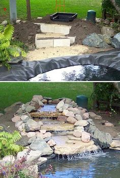 Garden Pond Waterfall - Diy Garden Waterfall Projects Ponds Backyard Water Features In 7 Beautiful Backyard Ponds Water Features In The Garden Small Small Pond Waterfall Idea. Backyard Water Feature, Ponds Backyard, Backyard Landscaping, Garden Ponds, Backyard Waterfalls, Garden Fountains, Koi Ponds, Water Fountains, Outdoor Fountains