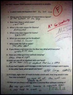Funny answer paper. I so want to do this on a pre-test.