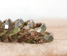 Deep Lichen Green Resin Ring Stacking Ring Pink Gold by daimblond