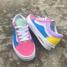 Cotton Candy Vans Custom Old Skool -Big Kids/Adults Men Women Pink Purple Green Yellow Blue - Shooooos - Shoes Nike Presto, Vans Old Skool Low, Old School Vans, Custom Vans Shoes, Custom Made Vans, Cute Vans, Nike Free Run, Big Kids, Kids Girls