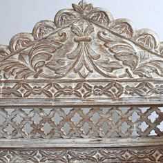 White Wooden Sofa - carvings #indian #furniture #india